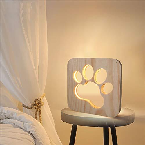 Watopi - Lámpara de noche con forma de pata de perro, diseño vintage de madera de pino, para decoración de niños, amantes de los perros