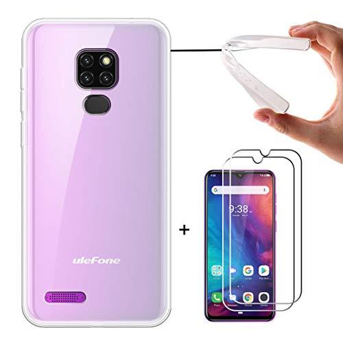 LJSM Funda para Ulefone Note 7P + [2 Piezas] Protector de Pantalla Templado Film Película Protectora - Semi-Transparente Carcasa Silicona TPU Suave Caso Case para Ulefone Note 7P 2019 (6.1