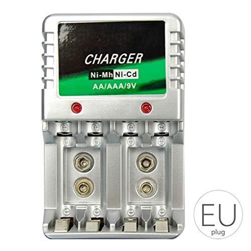 babysbreath17 Chargeur de Batterie AA AAA Piles 9V Murale Bureau Station de Recharge Chargeurs BatterySafe Rechargeable Voyage Portable 2 110 * 68 * 73mm