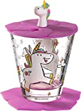 Leonardo Bambini 034800 - Juego de 3 vasos infantiles de cristal con diseño de unicornio, tapa y posavasos, apto para lavavajillas, 215 ml