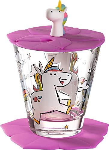 Leonardo Bambini Kinderglas, 3 teilig, Kinder-Becher aus Glas mit Tier-Motiv Einhorn, Deckel und Untersetzer, spülmaschinengeeignet, 215 ml, 034800