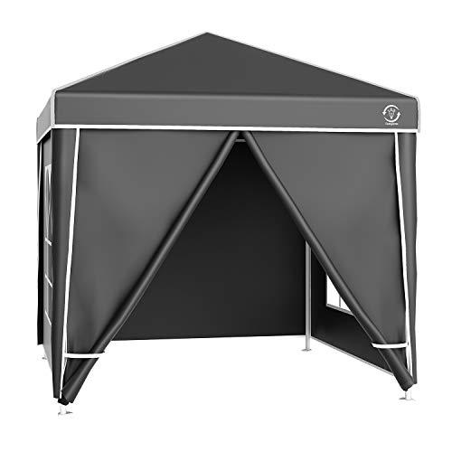 fam famgizmo Pavillon 3x3m wasserdicht Pop-Up mit 4 Seitenteilen inkl. Tasche UV-Schutz 50+ Faltpavillon Gartenzelt Partyzelt Grau