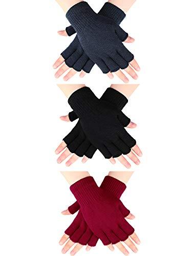 SATINIOR 3 Paar Halb Fingerhandschuhe Winter Fingerlose Handschuhe Strickhandschuhe für Männer Frauen (Schwarz, Dunkelgrau und Rot)