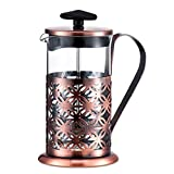 KEATY French Press Coffee Maker 0.6-Liter 4-Cup Coffee Maker, 20-Ounce,Red Copper