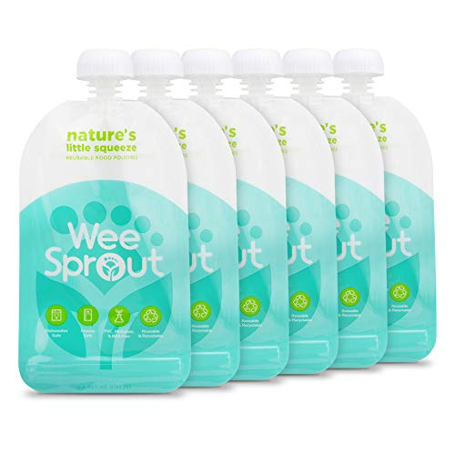 Lowest Prices! WeeSprout Double Zipper Reusable Food Pouches | 6 Pack 5 fl oz Size Pouches | Blue