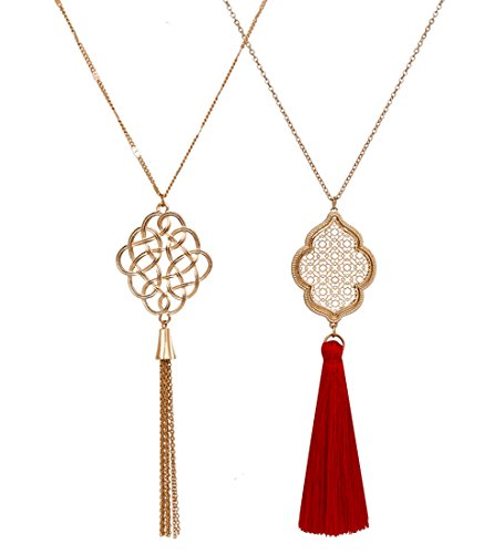ALEXY 2Pcs Long Chain Pendant Necklace Set, Filigree Quatrefoil and Celtic Knot Pendant Tassel Y Necklaces for Women (B Gold + Gold)