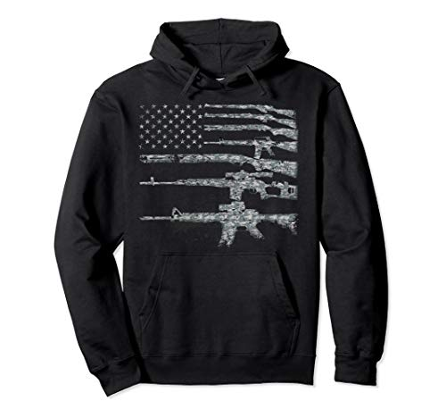 USA Guns Weapons Rifles Flag Digital Camo Hoodie...