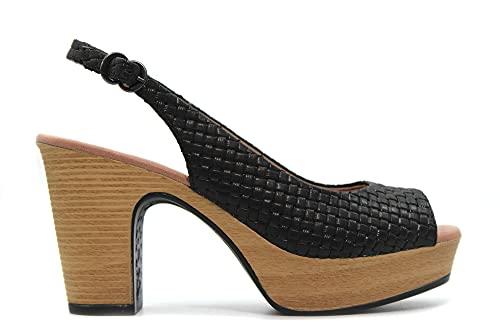 PEDRO MIRALLES - Sandalia de tacón con plataforma, salón destalonado y abierto por delante,cierre con hebilla, para: Mujer color: NEGRO talla:40