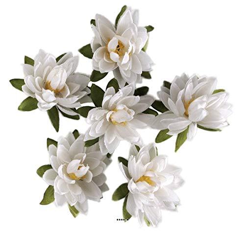 Artif-deco - Tetes de lotus x6 blanc neige en sachet d 7 50 cm - choisissezvotrecoloris: blanc neige