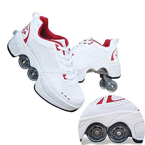 Hmyloz Skateboardschoenen voor kinderen, uniseks, met wieltjes, skateboards, wieltjes, sportschoenen, loopschoenen, sneakers met wieltjes, kinderen, jongens meisjes