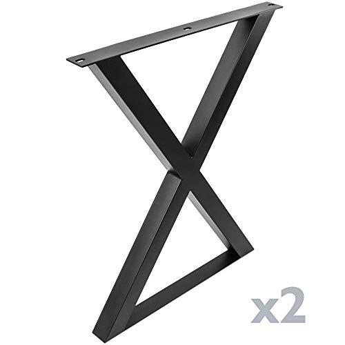 PrimeMatik - Poten in 'X' voor tafel Poten in zwart staal 590 x 50 x 710 mm 2-pack