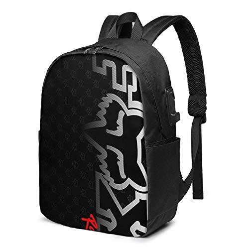 Fox Head Racing USB School Backpack gran capacidad lona mochila de viaje casual para adultos, adolescentes y mujeres
