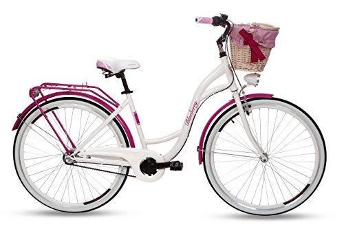 Goetze Blueberry Vintage Retro Citybike Damenfahrrad Hollandrad, 3 Gang Shimano Nexus, Tiefeinsteiger, Rücktrittbremse, 28 Zoll Alu Räder, Korb mit Polsterung Gratis!