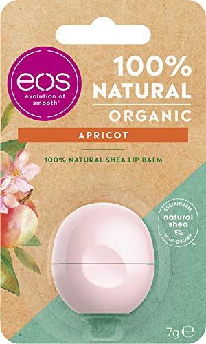 eos Organic Apricot Lip Balm, feuchtigkeitsspendende Lippenpflege, mit Aprikosen Geschmack, für weiche Lippen, mit natürlicher Sheabutter, 7 g