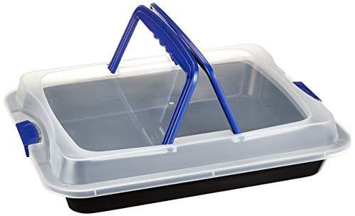 axentia Back- und Auflaufform, antihaftbeschichtete Backform mit Transporthaube aus Kunststoff, Schutzbox aus Carbonstahl, Transportbox mit 2 Tragehenkeln, Maße der Kuchenform ca. 40 x 32 x 5 cm