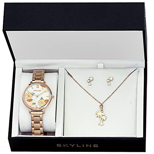 SKYLINE, Conjunto de Accesorios para Mujer, Reloj de Pulsera, Collar y Pendientes con Diseño de Palmera, Acero Inoxidable, Cumpleaños, Aniversario, etc, Color Oro Rosa
