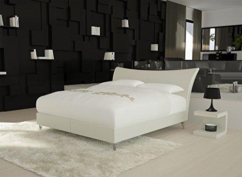 SAM® Design Boxspringbett Mila Girona weiß mit 7-Zonen H2 Taschenfederkern-Matratze, gesteppten Viscoschaum-Topper, Memory-Effekt und Chrom-Füßen 180 x 200 cm