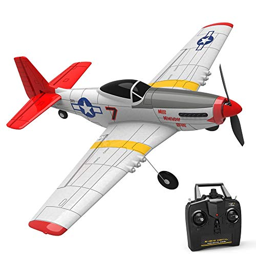 RC Plane 2.4G 6-Axis Gyro RC avión de ala Fija Trainer RTF Una tecla Retorno for Principiantes Mini Mustang P-51D PPE 400mm Envergadura Gran Regalo para Adultos y niños