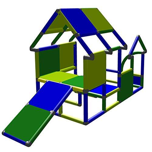 move and stic Casetta giocattolo per bambini con torre da arrampicata con scivolo, verde