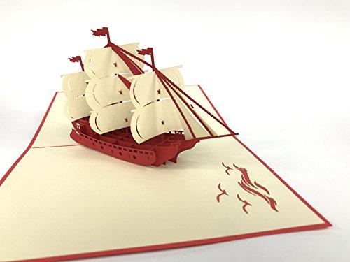 3D Karten Schöne große Segelboot Geburtstagskarte