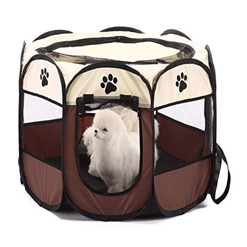 FEE-ZC Inklapbare huisdiertent, huisdierbed, hondenstal, puppen-huisdierstift, stoffen speelstift voor honden, katten, cavia's, rond, cage, cratten, kenel, tent, bruin-M