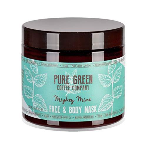 Mascarilla hidratante y nutritiva, para rostro y cuerpo de Pure Green Coffee Company. Frescura de menta, enriquecida con café verde para una piel hidratada intensa, producto vegano. Frasco de 200 ml