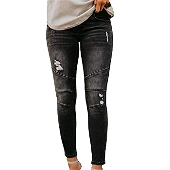 Women s Classic Moto Biker Denim Jeans Fashion Low Rise Ripped Stretch Jeans Juniors Distressed Jeggings Casual Slim Fit Denim Pants with Knee Stitching,Black,TAG XL Fits Like US XL