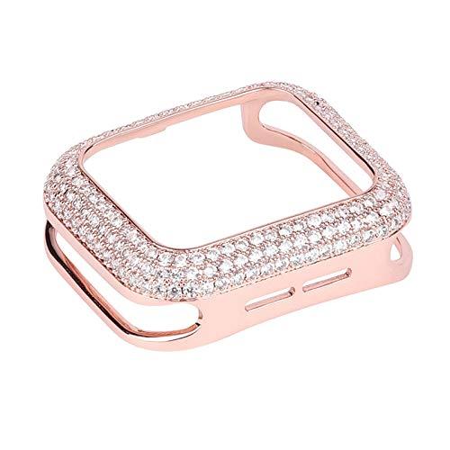 HGGFA Parachoques de Lujo de Las Mujeres de Cobre Tallado para la Caja del Reloj de Apple 44 / 40mm 42 / 38mm Cubierta de Metal de Bling de Diamante para iWatch Series SE / 6/5/4/3/2