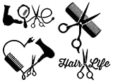 Hair Stylist Decal 4 Pack: Love, Heart, Comb and Scissors, Hair Life (Hairstylist Black, Small ~3.5')