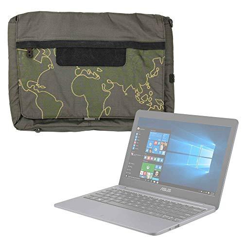 DURAGADGET Bolso con Bandolera Verde con Mapamundi para Portátil ASUS VivoBook D540NA-GQ059 - con Múltiples Bolsillos