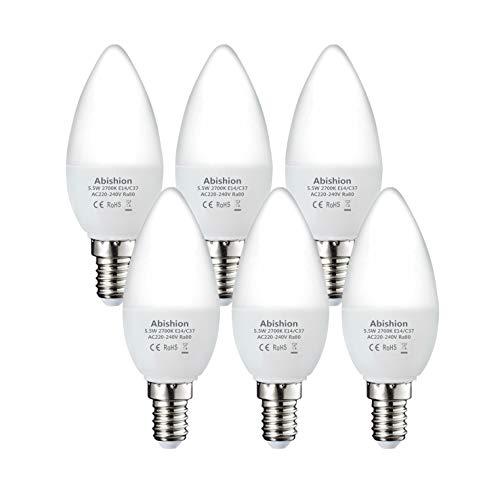 Abishion E14 LED Lampe,Kerzenform,5.5W Ersetzt 40W Glühlampe,470LM,Warmweiß 2700K,C37 E14 LED Leuchtmittel,Nicht Dimmbar,6er-Pack.