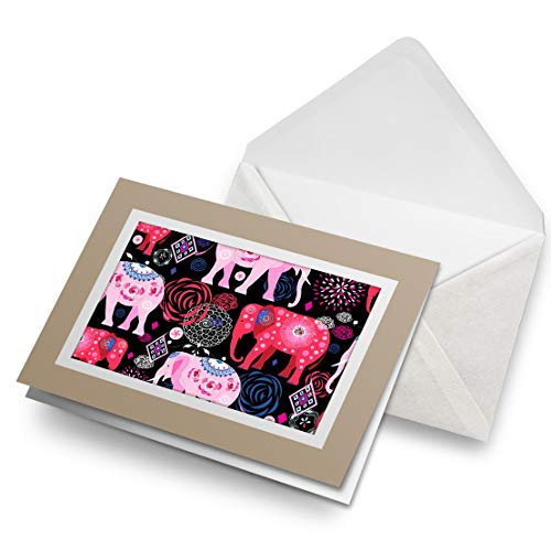 Fantastico Biglietto Di Auguri Biege (Inserto) – Bellissimo Rosa Indiano Elefante Animali Vuoto Biglietto Di Auguri Di Compleanno Per Bambini Festa Ragazzi Ragazze #8405