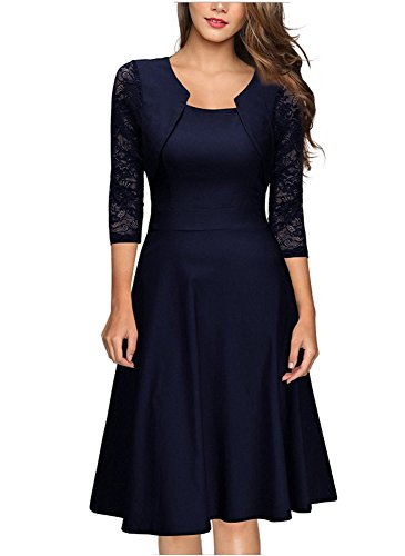 emmarcon Elegante Abito Cerimonia da Donna Manica in Pizzo a 3/4 Vestito Corto Sera party-Blue-IT48-50/XL