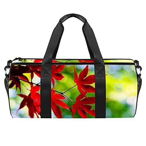 Borsone sportivo da palestra, borsa da danza media, leggera, resistente, con piccole foglie, per palestra e da viaggio, per uomini e donne, 45 x 23 x 23 cm, Red Maple Leaf6, 45x23x23cm,