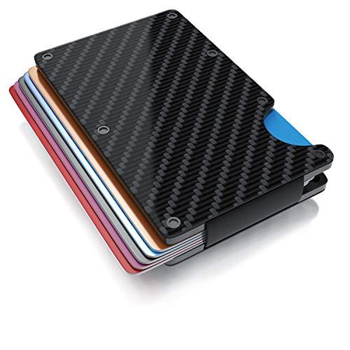CSL - RFID Blocker Kartenetui - Kreditkartenetui - Kreditkarten Schutzhülle aus Carbon beschichtetem Kunststoff - mit Geldklammer - Geldbörse Slim Wallet Portemonnaie Portmonee - RFID NFC Schutz