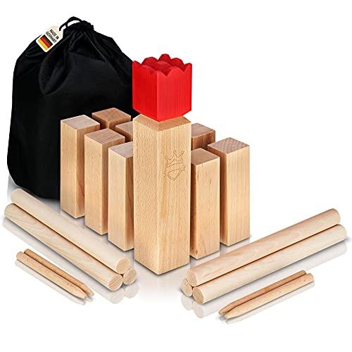 POZY® Kubb Wikinger Wurfspiel [Made in Germany] aufregendes Gesellschaftsspiel für Erwachsene und Kinder aus echtem Buchenholz - packendes Wikinger Spiel für draußen - das ideale Outdoor Spielzeug