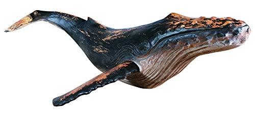 MichaelNoll Wal Walfisch Fisch Dekofigur Skulptur Statue Polyresin Modern - Maritime Deko in Holz-Optik - XXL 87,5x52x22,9 cm