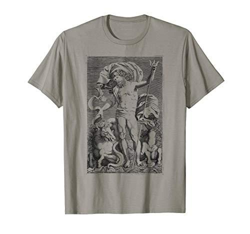 Poseidon T-Shirt Trident Greek God Mythology Sea Horses