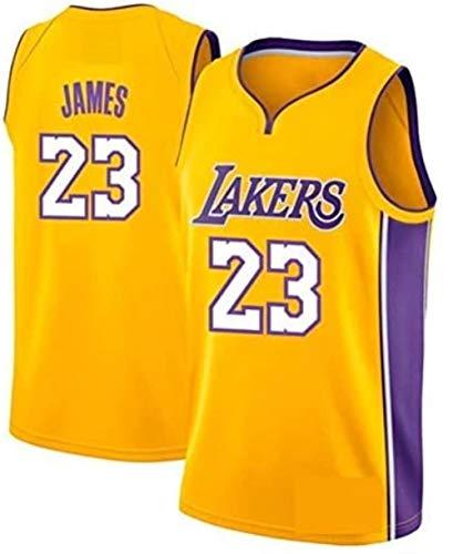 SHOP YJX LeBron James Lakers No.23 - Camiseta de baloncesto para hombre, unisex, sin mangas, de malla bordada, para baloncesto, color amarillo, talla mediana)