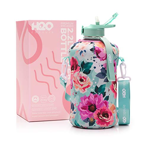 H2O Capsule 2.2L Half Gallon Water Bottle with Storage Sleeve and Covered Straw Lid – BPA Free Large Reusable Drink Container with Handle - Big Sports Jug, 2.2 Liter (74 Ounce) Floral Bloom