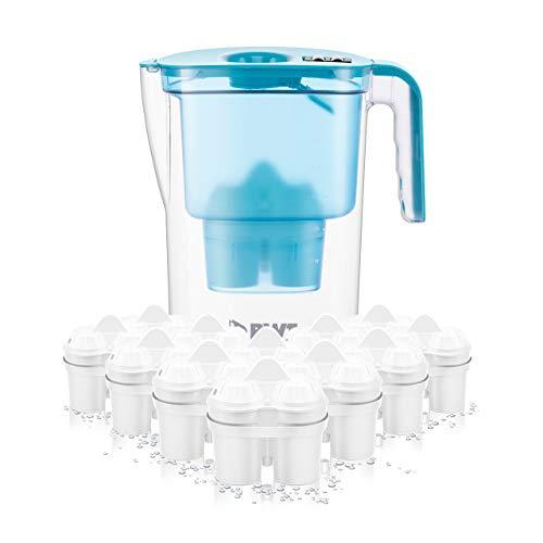 BWT Wasserfilter VIDA 2,6 l petrol inkl. 12 Filterkartuschen Soft Filtered Water inkl. 1 Kartusche Magnesium Mineralized Water | Kalkschutz für Ihre Haushaltsgeräte | Jahresvorrat