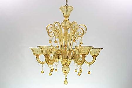 Lámpara clásico 6luces diseño único. Cristal Murano transparente y ámbar. No barnizado. Ocasión.