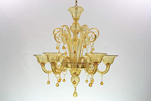 Lustre classique 6 lumières design unique . Verre Murano transparent et ambre. Non verni . Occasion.