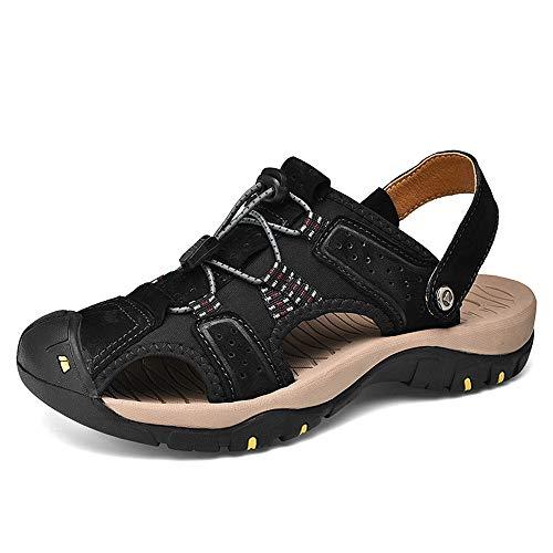 Sandalias de cuero para hombre For hombre de deportes al aire libre sandalias no del resbalón Senderismo Trekking sandalias de verano ligeros zapatos atléticos casuales Negro Marrón Para Deportes Play