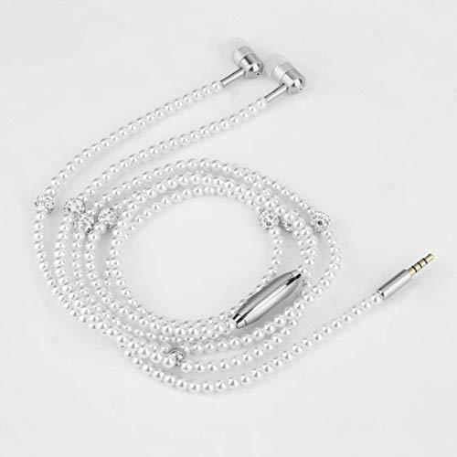 CHOUCHOU Colgante Pendientes Joyería de Moda Collar de Perlas de Auriculares con micrófono de 3,5 mm en la Oreja los Auriculares con Cable de Auriculares for Todos los Dispositivos de Audio de 3,5 mm