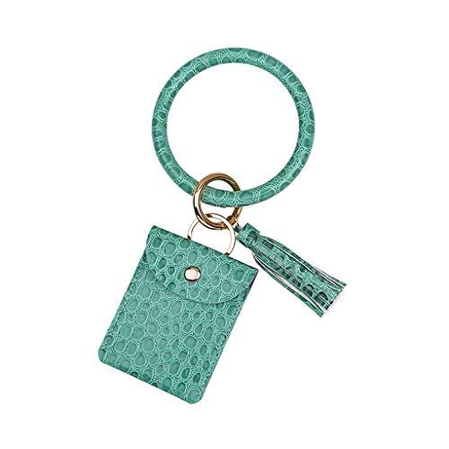 Keychain Leather KeyChain Wristlet Keychain for Bracelet Pocket Credit Card Holder Tassel Bangle Gift Women for Women Girls Gifts (Color : Green)