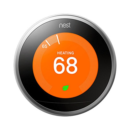 Nest 3rd Generation Learning Thermostat with 1 Year Extended Warranty (Stainless Steel)