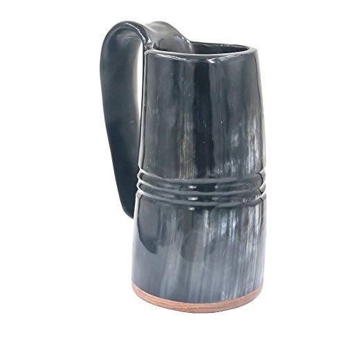 Viking Mug Trinkhorn Krug Authentic Medieval Inspired Trinkbecher Mit Redwood Base In Line Gravur