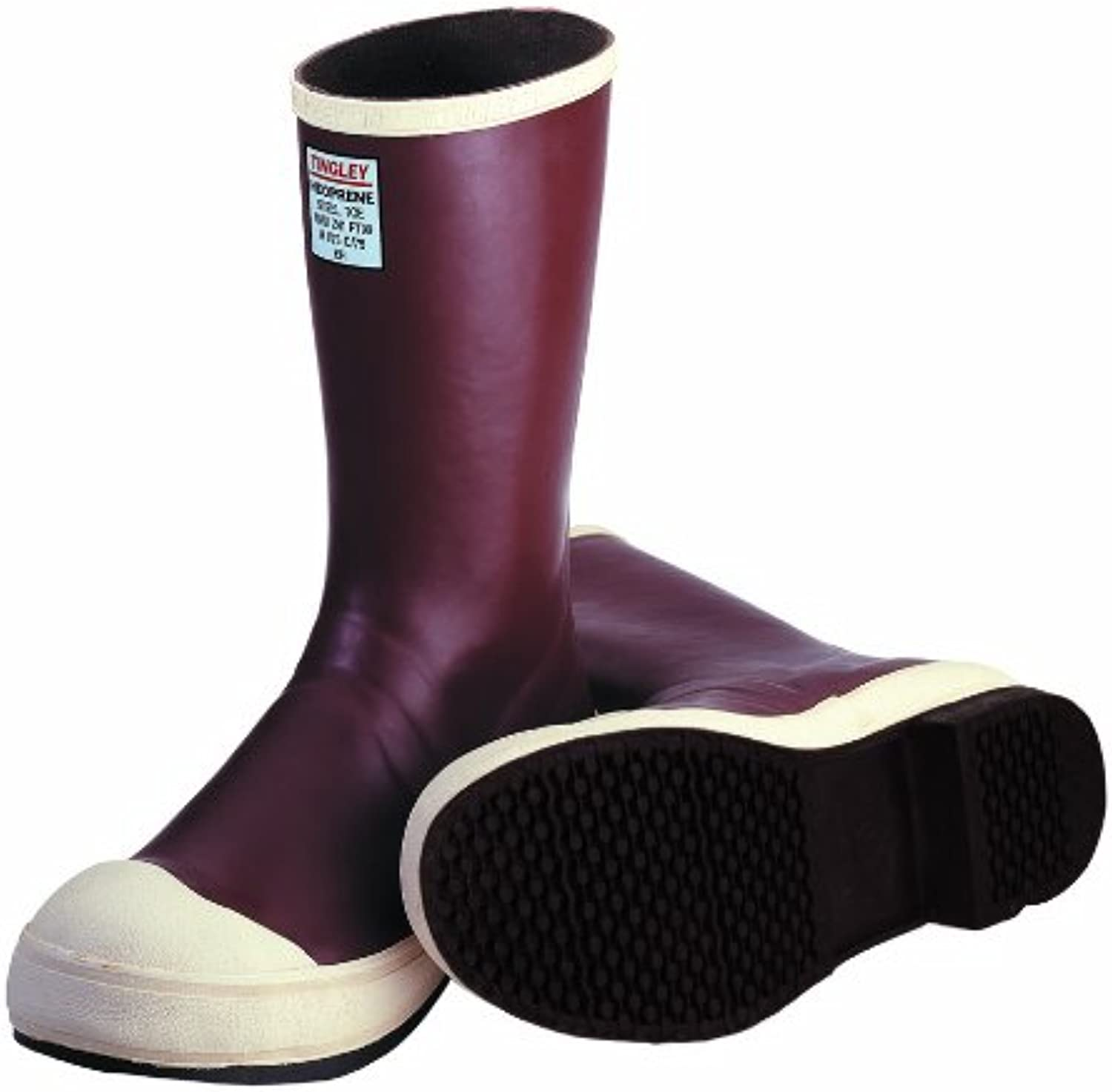 TINGLEY MB924B.15 12-1 2  Safety-Loc Outsole Neoprene Boot with Fabric Liner, Plain Toe, Size 15, Brick Red Brown