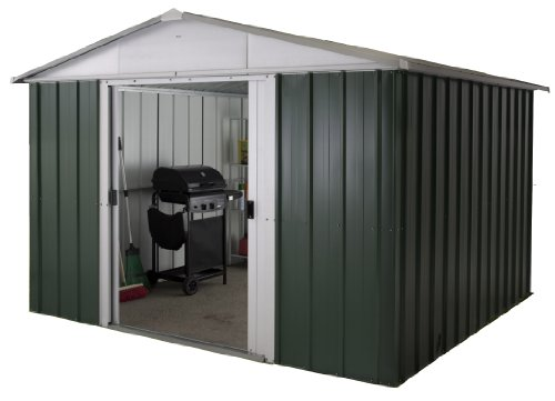 Yardmaster 10 x 13 ft Deluxe Apex Roofed Metal Shed - Green